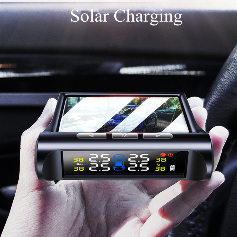 Lcd-Display Pressure-Alarm Tire-Pressure-Monitoring-System Solar-Power Universal Color title=