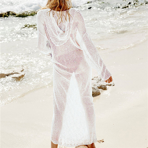 Full Length Mesh Crochet Beach Cover Up Dress 7