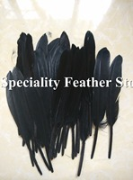 100pcs a lot Black Hard Rod Goose plume feathers 4-6inches10-15cm For Crafting/earring/headwear