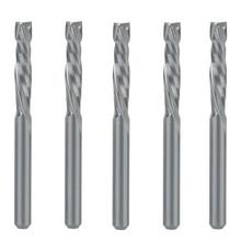 5 uds. Cortadores de herramienta de fresadora de carburo en espiral de dos canales de 3.175x17mm para enrutador CNC, fresa final de compresión para madera brocas de corte
