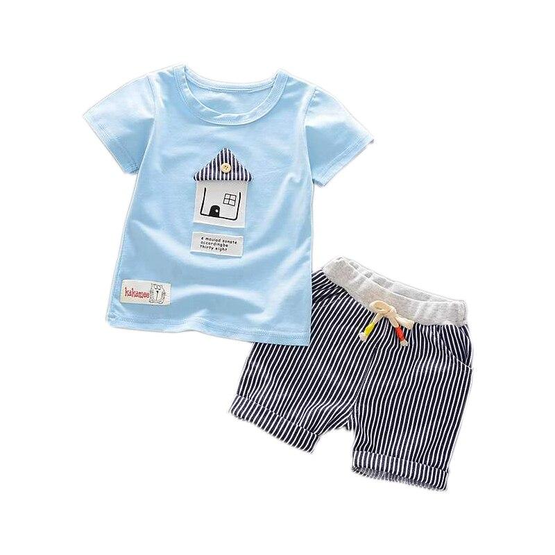 Для маленьких мальчиков милый мультфильм домов узор футболка с короткими рукавами в клетку Шорты для женщин Мотобрюки 2 шт. комплект одежды ...