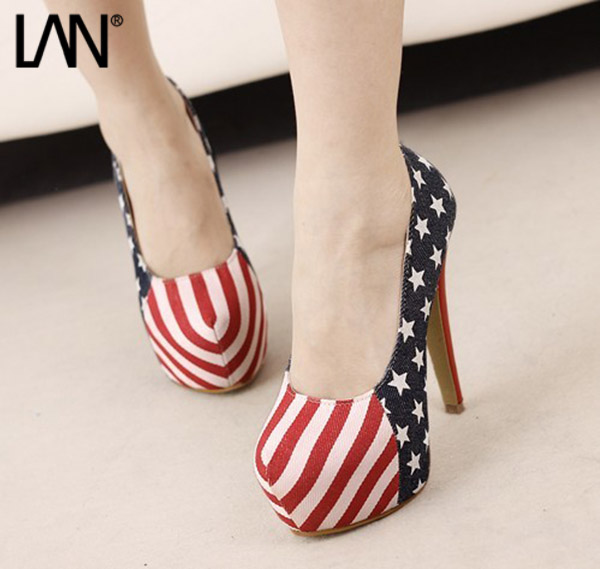 Fashion 2016 Women Pumps Slip On Stilettos Women High Heels American Flags US Sexy Ladies Party Wedding Bridal Shoes