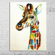 Modern Handpainted Abstract Hang Pictures Colourful Giraffe Family Animal Modern Oil Paintings Canvas Wall Picture Home Decor(China)