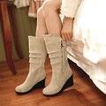 Tamanho grande 34-49 novas Mulheres Primavera Botas Outono Cunhas da Plataforma do Salto Botas Femininas Na Altura Do Joelho Alta Botas de Montaria Mulheres botas mujer