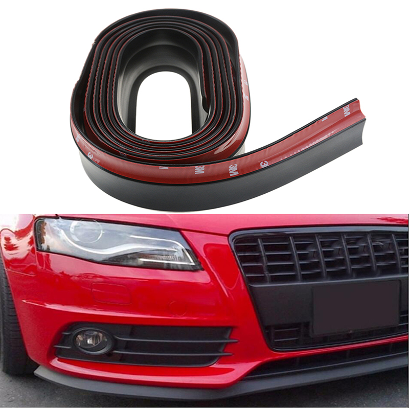 X AUTOHAUX 2.5m 8.2ft Car Rubber Bumper Lip Splitter Body Side Skirt Protector Carbon Fiber Pattern Red