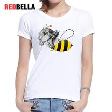 REDBELLA Women Cotton T Shirt Art Design Parody Spoof Beethoven Bees Funny Graphic White Tees Popular Artistic Vintage Clothing