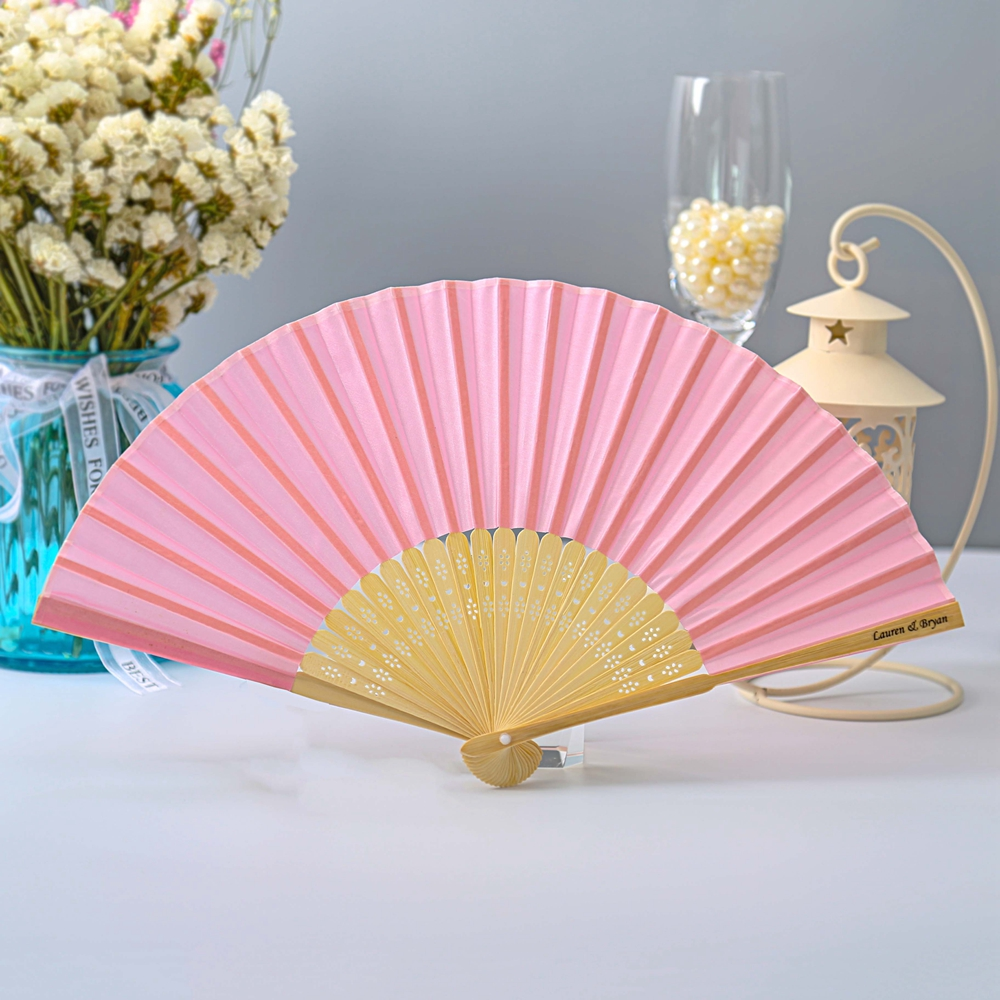 100pcs Personalized Luxurious Silk Folded Wedding Hand Fan With Box ...