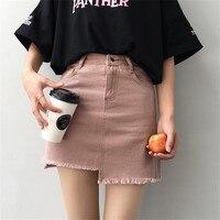 2018 Summer Jeans Pink Tassel Skirt Women High Waist Irregular Edges Skirts Female Mini Saia Washed