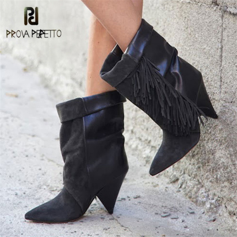 Prova Perfetto Fashion Fringed Women Ankle Boots Suede Pointed Toe Riding Boots 8CM Spike High Heels Female Wedge Shoes BotasProva Perfetto Fashion Fringed Women Ankle Boots Suede Pointed Toe Riding Boots 8CM Spike High Heels Female Wedge Shoes Botas