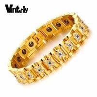 Vinterly Mens Chain Bracelet Luxury Blue CZ Stones Flower Shape Health Energy Magnetic Hematite Stainless Steel