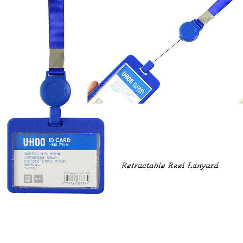 Uhoo Ski Pass Retractable Id Card Holder With Neck Strap High Quality Name Badges Identity Card Holder Wholesale Badge Holder & Accessories Office & School Supplies