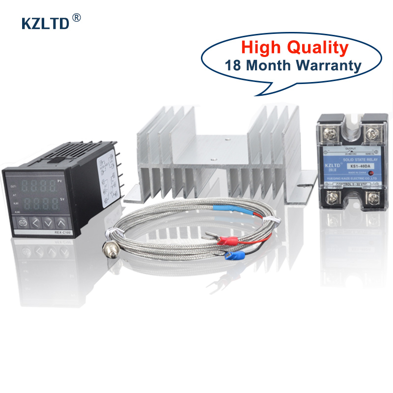 KZLTD REX C100 SSR Heatsink Type K Thermostat PID Temperature Controller SSR Relay Heat Sink SSR Temperature Thermostat 40A Rele
