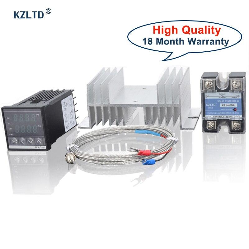 KZLTD REX C100 SSR теплоотвод Тип K термостат PID температурный контроллер SSR реле теплоотвод SSR температурный термостат 40A Rele