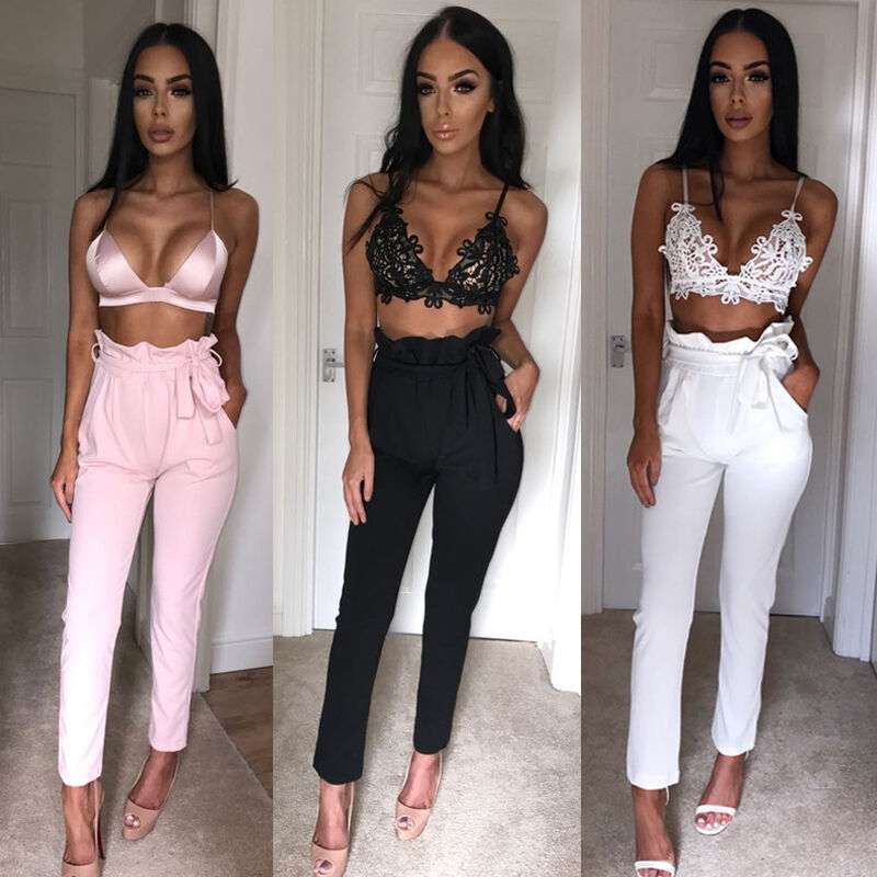 Hot Sale Fashion Women's Solid High Waist Slim Solid Bandage Stretchy Pants Office Lady Summer Casual Straight Thin Pants S-XL 1