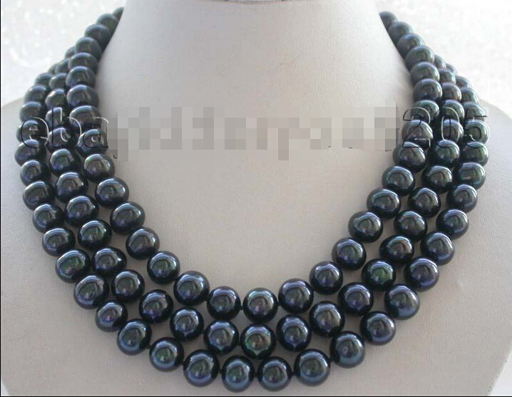 FREE shipping>>> >>17-18-19 3rows Genuine Natural 11mm Black Round Pearl Necklace #f1536! 6.07FREE shipping>>> >>17-18-19 3rows Genuine Natural 11mm Black Round Pearl Necklace #f1536! 6.07