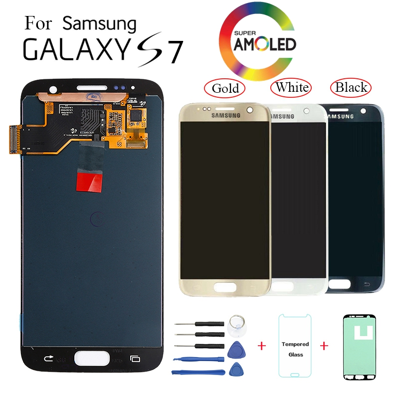 Originale Per Samsung Galaxy S7 G930F G930FD Display LCD sostituzione dello schermo per Samsung G930V G930T G930W8 modulo di visualizzazione dello schermo