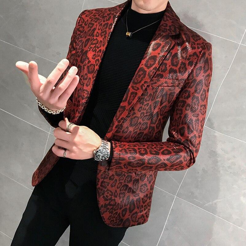 Jaqueta de couro trajes de palco para cantores casaco solto blaser homens terno masculino outono leopardo impressão dos homens blazer pele terno