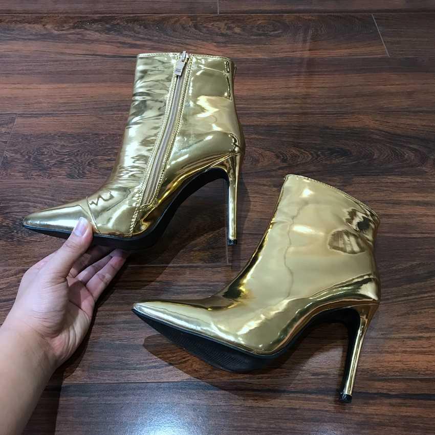 2019 mùa xuân và mùa thu Giày bốt nữ vàng bạc gợi cảm Giày cao gót cổ chân giày cho nữ gợi cảm cao gót cao cấp người phụ nữ