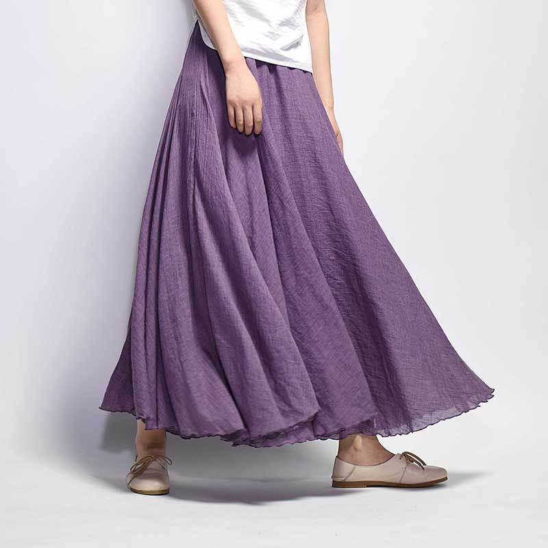 Coton Lin Longue Jupe Femmes 2018 D'été De Couleur de Sucrerie Plissée A-ligne Grand Cercle Faldas Vintage Taille Élastique Plage Maxi Jupe
