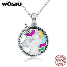 Wostu venda quente 925 prata esterlina colorido licorne pingente gargantilha colar para feminino menina jóias presente de casamento cqn266