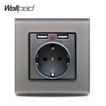 S7 EU Grey Wall Socket with 2.1A 2 x USB Charging Ports, Single Power Outlet Tempered Crystal Glass Panel все цены