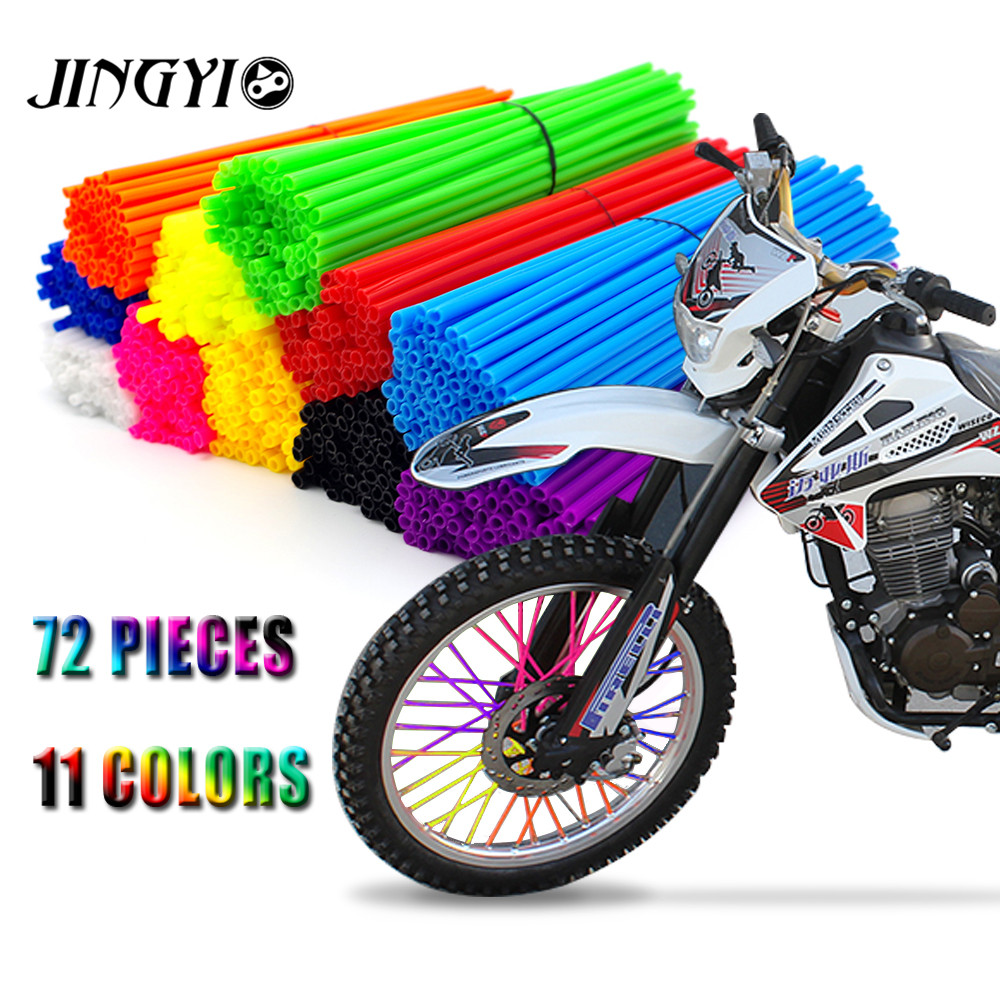 Universele Motorcycle Dirt Bike Velg Spoke Skins Covers Wrap Buizen Decor Protector Kit VOOR KTM EXC Yamaha Honda pit fiets