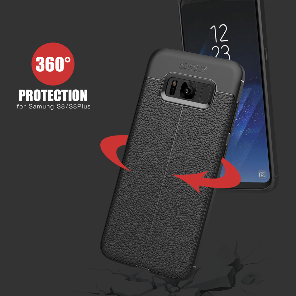 Samsung Galaxy S8 S8 Plus üçün karbon lifli toxumalı TPU silikon - Cib telefonu aksesuarları və hissələri - Fotoqrafiya 4
