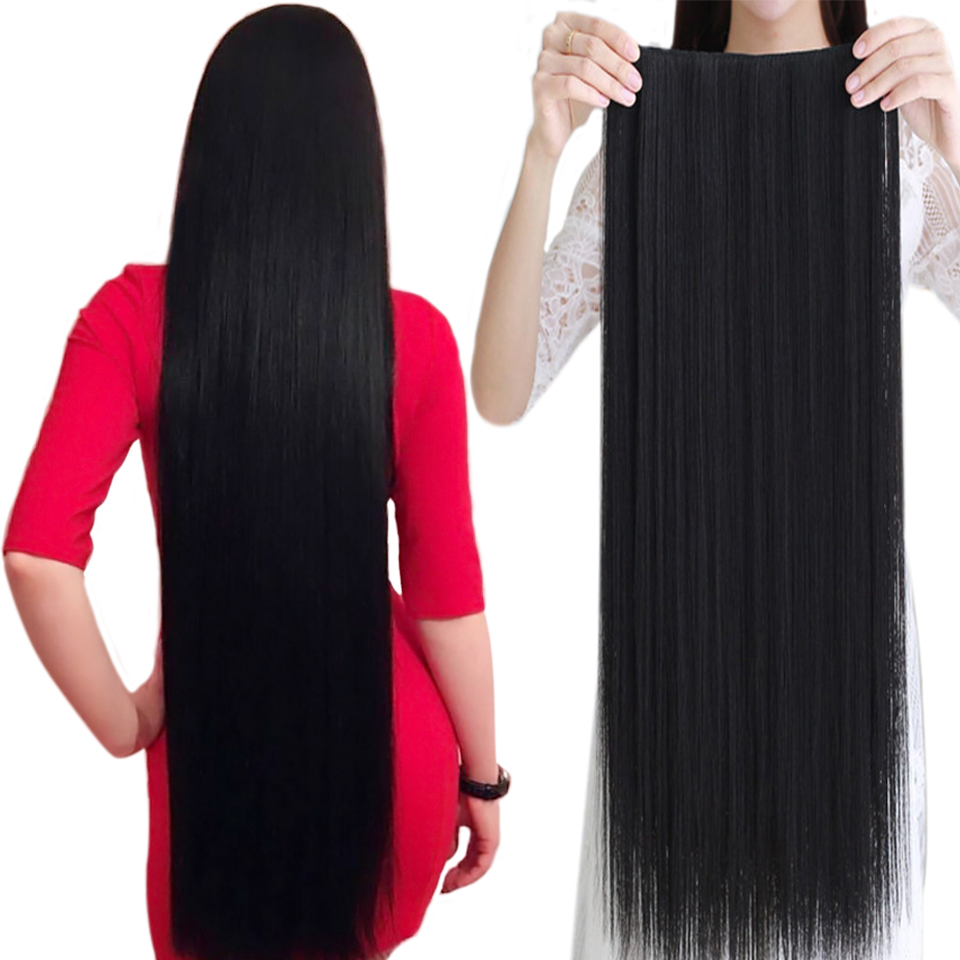 WTB 100cm 5 Clip In Hair Extension Heat Resistant Long Straight Black Fake Hairpiece For Women Natural Synthetic Hair 4 Sizes