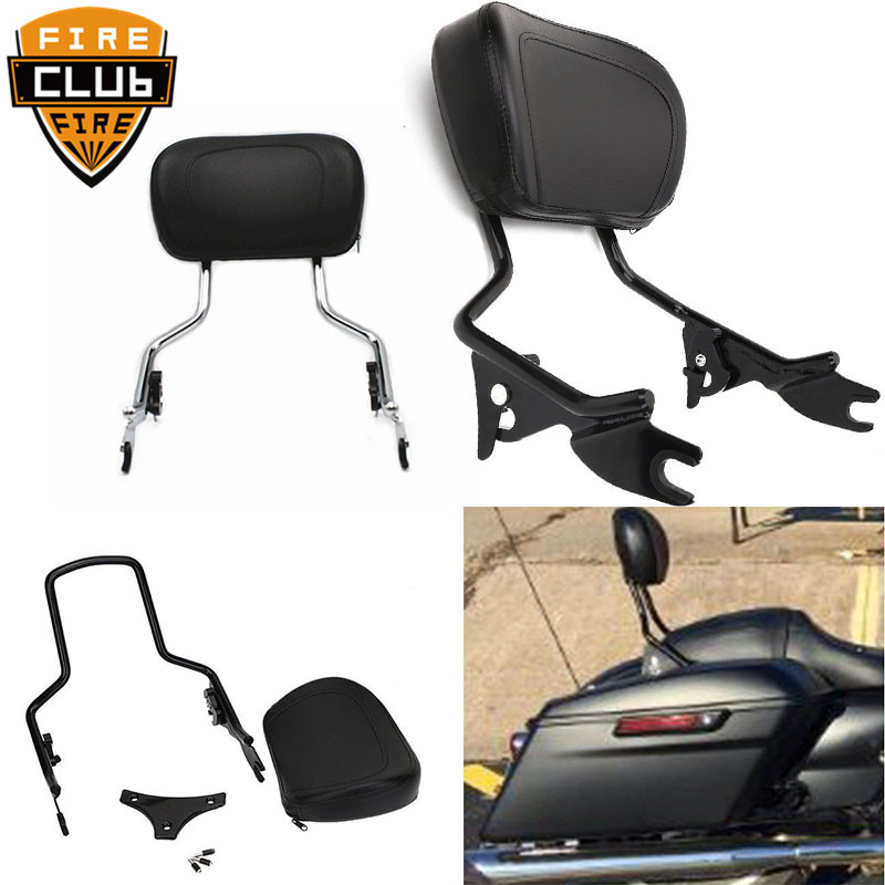 Black Sissy Bar Passenger Detachable Backrest W/ Pad For Harley Touring Road Street Glide FLHR FLHX FLHT FLTR 2009-2017 2018