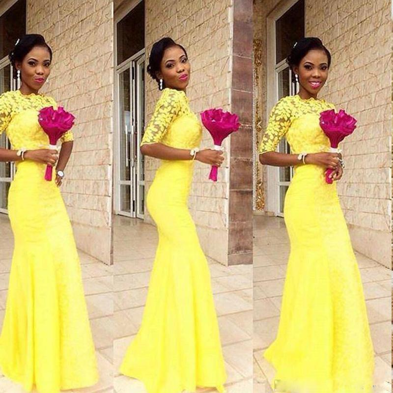 Arabic Mermaid Yellow Bridesmaid Dresses Dubai Lace Sheer