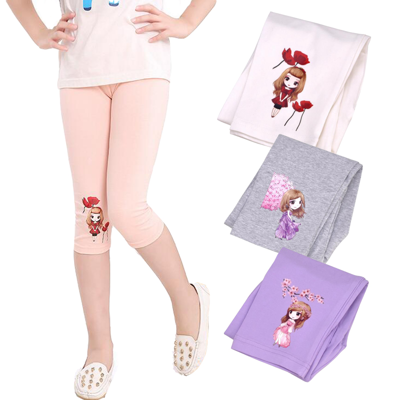 Barn Calf Length Bukser For Girls Cartoon Cotton Leggings Elastic Kids Bukser Summer Ballet Dance Wear 2 3 5 7 9 11 12Years