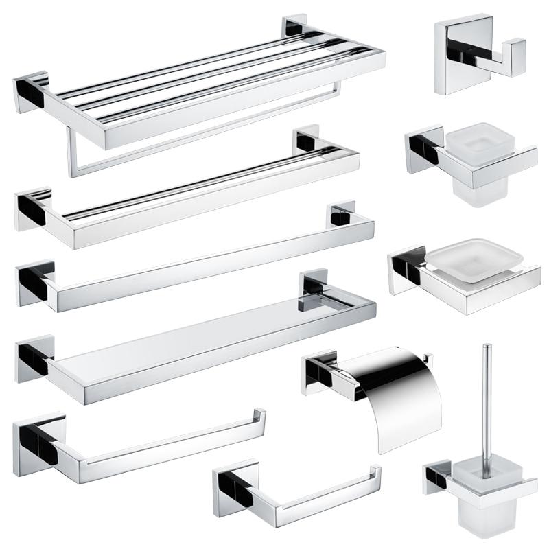 High Quailty Stainless Steel Bathroom Hardware Set Roll Paper Holder Towel Rack Toilet Brush Holder Towel Shelf Bath Accessories