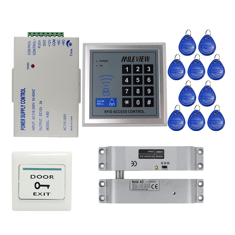MILEVIEW Rfid Code Keypad Door Access Control System Kit Set + Electric Drop Bolt Door Lock IN STOCK Free Shipping free shipping 10pcs lf412cn dip8 in stock