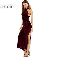 COLROVIE Velvet Deep Plunge High Slit Sleeveless Cross Back Dress