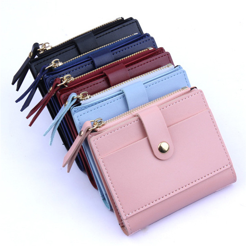 Fashion Women Wallet Lovely Candy Color Small Coin Zipper Purse Card Package PU  9X2X10.5cm Passport Holder Card Wallet #82015