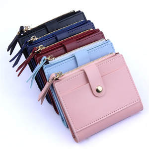 Card Wallet Purse Passport-Holder Zipper Small Fashion Coin Pu-9x2x10.5cm Candy-Color