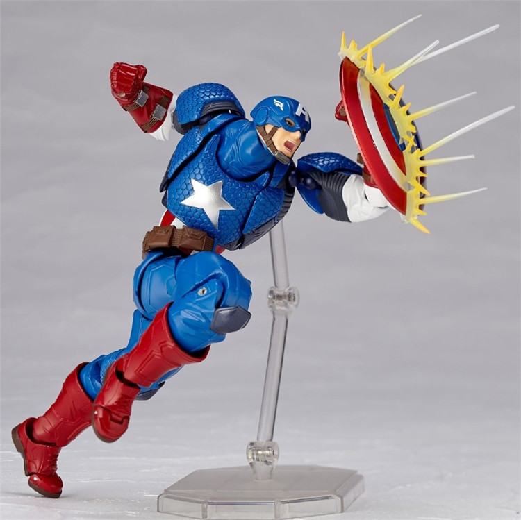 PVC Avengers Figure Complex Amazing Revoltech 007 Captain America Action Figure Movable Assemble DIY Model Toy Collections
