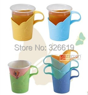 Free Shipping Coffee and Tea Tools Plastic PP CE EU CIQ disposable cup holder paper cup holder glass cup holder