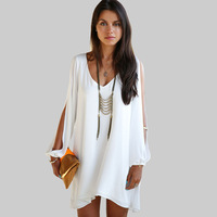 2017 New Summer Chiffon Short Dress Women Loose Sexy V Neck Strapless Casual Mini Shirt Dress White Beach Dresses