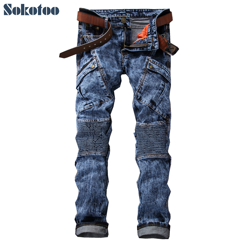 Sokotoo Men's fashion pockets acid snow wash biker jeans Casual patchwork denim pants Long trousers