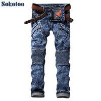 Sokotoo herenmode pockets zuur sneeuw wassen biker jeans Casual patchwork denim broek Lange broek
