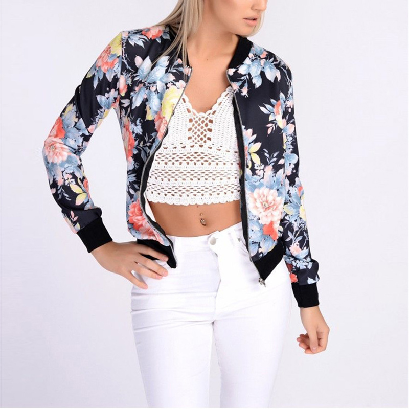 Bomber   Jackets   Coats Women Long Sleeve Outwears Zippers Pockets Baseball Coat Flower Printed Bomber   Basic     Jacket   Chaqueta Mujer