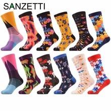 SANZETTI 5 pora / Lot moterų šviesus spalvingas Dot įgulos kojinės kombinezoninis medvilnė laisvalaikio kojinės naujienos ilgo suknelė kojinės dovanos