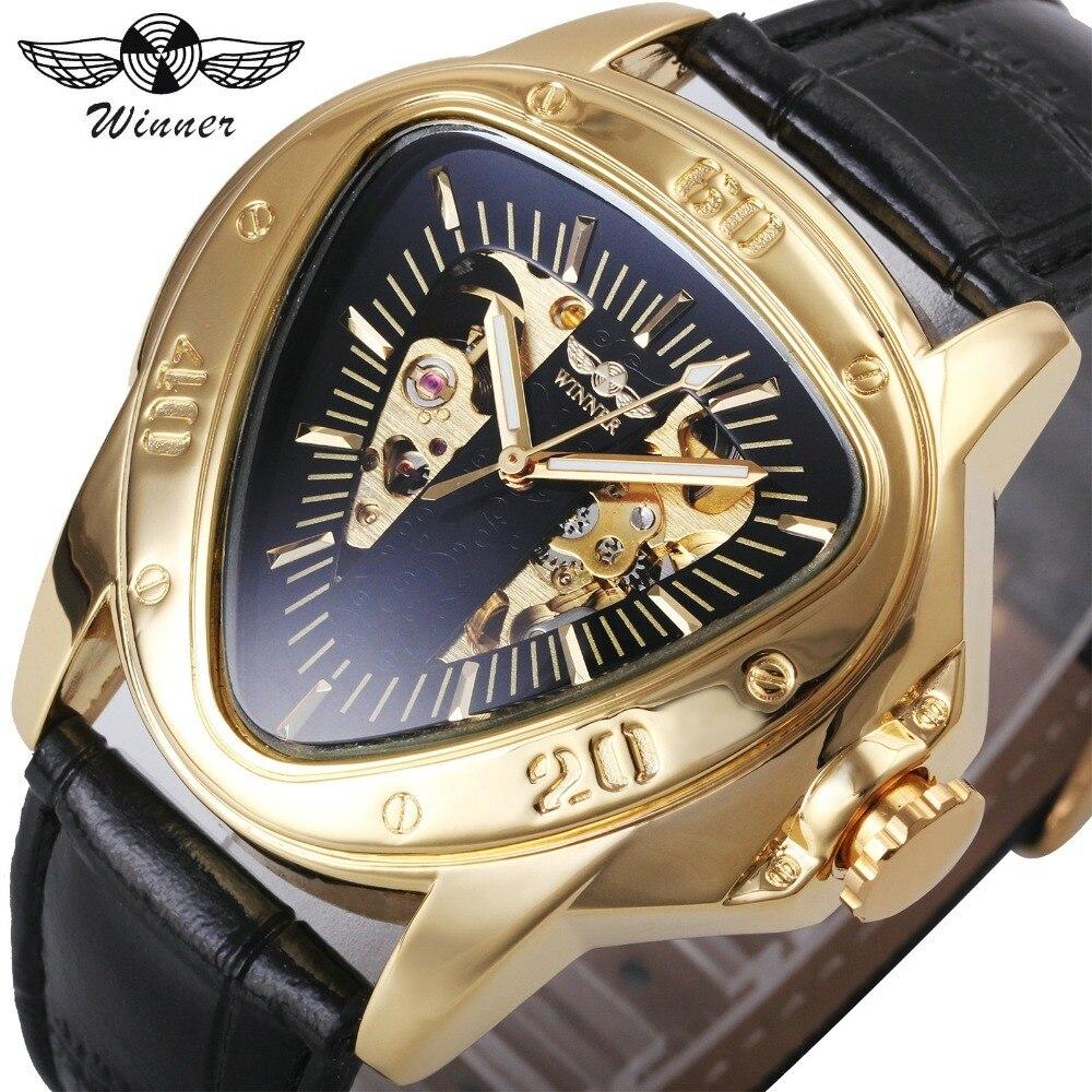 WINNER Top Brand Luxury Men Mechanical Watch Leather Strap Triangle Case Golden Skeleton Dial 3D Design Creative Watches winner mechanical watch luxury brand