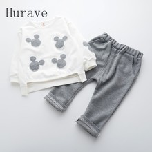 Hurave Children autumn hot boy cartoon sets for infantil kids clothing sets fashion shirts +pants boys spring sets