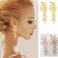 New Ladies Imitation Rhinestone Luxury Imitation Crystal Long Snowflake Flower Eardrop Earrings Earstud 1 Pair Jewelry