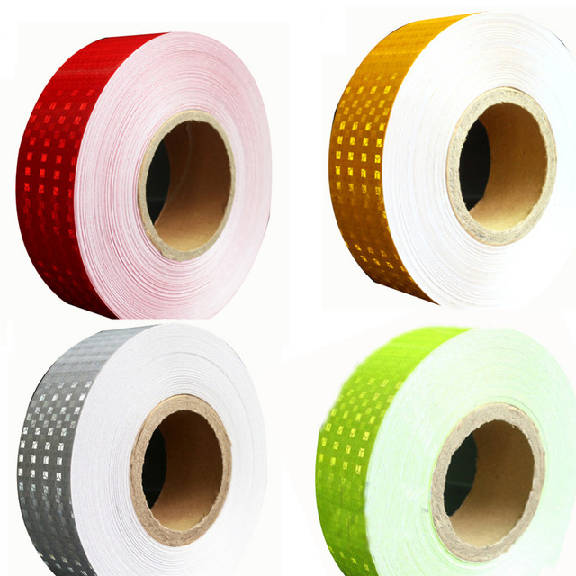 (30 Roll/LOT) Wholesale 45M*5CM glisten  Lattice Reflective Tape Yellow white red  Adhesive Hazard Warning Tape
