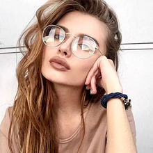 Vintage Round Plane Mirror Transparent Glasses Frame Women Fake Computer Reading Clear Lens Optical spectacles