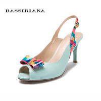 Sandals NEW Summer 2017 Leather Shoes Woman Fashion High Thin Heels Blues Color Open Toe Shoe