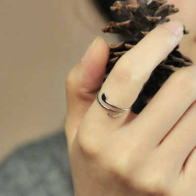 Funmor เพลงหมายเหตุปรับ 925 เงินสเตอร์ลิงแหวนผู้หญิงผู้หญิงคอนเสิร์ตพรหมเครื่องประดับ Bijoux ของขวัญ Simple Joias